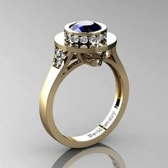 Top Hat Skull 14K Yellow Gold 1.0 Ct Blue Sapphire Diamond Solitaire Engagement Ring R1025-14KYGDBS - Brought to you by Avarsha.com