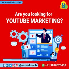 YouTube is the second largest search engine, right after Google. So get the benefits from it to boost your business through our targeted YouTube Marketing Services.  To know more about video marketing packages click @ www.sarsinfotech.com or Whatsapp +91 9818823408.  #youtubemarketing #videomarketing #youtube #youtubevideo #youtubechannel #youtuber #subscribe #vlogs #youtubevlogger #youtubecommunity #fbmarketing #igmarketing #videoproduction #adwords #marketingconsultant #marketingtips Best Web Design, Marketing Consultant, Competitor Analysis, Web Design Company, Search Engine, Online Business, Create Yourself, Digital Marketing, Awesome