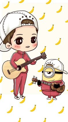 art, cute baby, and illustration image Minion Art, Cute Minions, Minion Painting, Image Pinterest, Minion Characters, Korean Illustration, Chibi Boy, Minion Pictures, Cute Cartoon Girl