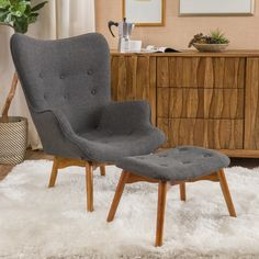 Canyon Vista Mid-Century Lounge Chair and Ottoman