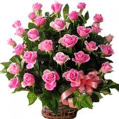 Preety #Pinkroses #basketarrangements
