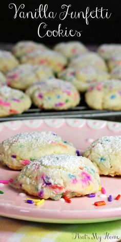 Vanilla Funfetti Cookies - Moist soft vanilla cookies full of sprinkles and dusted with powdered sugar.