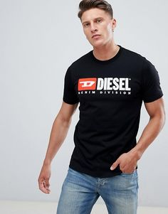 4cc3c99f449 Diesel T-Shirts Men Black T-Just-Division Industry Logo T-Shirt Outlet