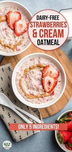 This Strawberries and Cream Oatmeal is hearty and satisfying plus it s made with only 5 ingredients A wholesome dairy-free and sugar-free breakfast oatmeal strawberry dairyfree plantbased vegan breakfast # Yummy Oatmeal, Oatmeal Recipes, Good Healthy Recipes, Healthy Breakfast Recipes, Brunch Recipes, Breakfast Ideas, Sugar Free Oatmeal, Healthy Foods To Make, Oatmeal Cream