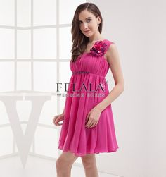 Summer Girls Affordable Simple Fuchsia A Line/Princess Short Mini Strap Petite Homecoming Dresses/Graduation Dresses/Party Dresses With Flower Ruche