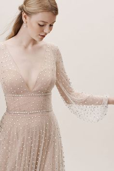 View larger image of Willowby by Watters Artemia Gown Fairy Wedding Dress, V Neck Wedding Dress, Polka Dot Wedding Dress, Evening Dresses, Prom Dresses, Wedding Dresses, Pretty Dresses, Beautiful Dresses, Bridal Outfits