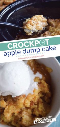 Crockpot Apple Dump Cake Recipe Everyday deserves a good dessert! This one is so easy and amazing! Try this Crockpot Apple Dump Cake Recipe with gluten free and dairy free options. Crockpot Apple Dump Cake, Apple Dump Cakes, Crockpot Dessert Recipes, Crock Pot Desserts, Dump Cake Recipes, Apple Recipes, Crock Pot Apple Cake Recipe, Apple Crisp In Crockpot, Crockpot Recipes Gluten Free