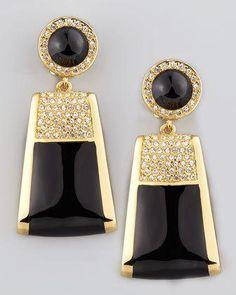 Rectangle Drop Clip Earrings by Rachel Zoe at Neiman Marcus. Art Deco Earrings, Art Deco Jewelry, Clip On Earrings, Vintage Jewelry, Drop Earrings, Swarovski Crystal Earrings, Beaded Earrings, 14k Earrings, Designer Earrings