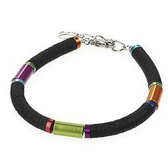 Cylinder Bracelet - Multicolored Black - Coeur De Lion Jewelry $95
