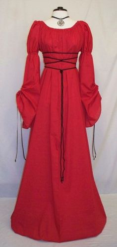 Renaissance red cathedral sleeve gown.