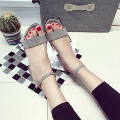 973b0a706bb295 women s sandles platform summer shoes thick heel sandal Korean style women s  strap sandals open toe sandals