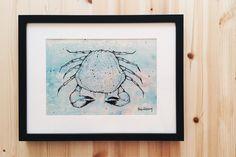 Sparay paint, acrylic color & Posca pen on canvas. Crab Art, Posca, Acrylic Colors, Original Paintings, Fish, Fantasy, The Originals, Frame, Home Decor