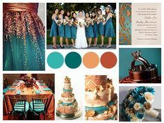 teal and copper wedding - except it would be mainly cream and copper with accents of teal