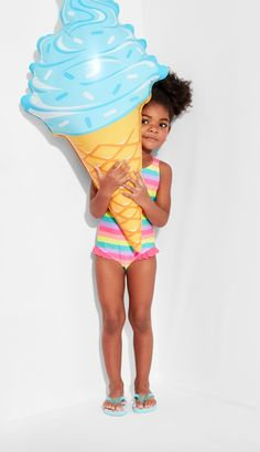 Toddler girls' fashion | Kids' clothes | Vacation style | Rainbow stripe bathing suit | The Children's Place