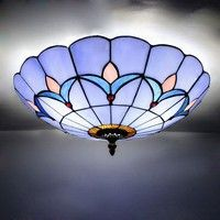 Wish   Tiffany Style Vintage Stained Glass Modern Flush Mount Ceiling Light Pendant Lamp Fixture LED Lights Home Living Room Decor