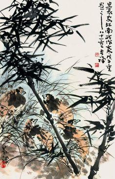 Li Kuchan (or Li Yan)(李苦禅) ,  草丛群鹑