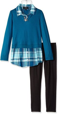 Amy Byer Girls' Big Girls' 2fer Top with Plaid Shirt and Legging-Exclusive, Peacock, Medium