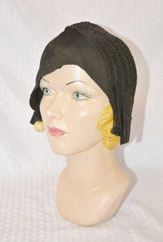 20s 30s Vintage Black Horse Hair Art Deco by MyVintageHatShop