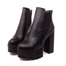 The New 2016 Autumn And Winter Ankle Boots Short Boots Thick With High Heels Waterproof Platform Leather Shoes Leather Boots Wom(China (Mainland))