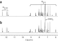 sample NMR data  Part of the 1H-NMR spectra (25 °C, CDCl3, 300 MHz) showing the amide and aromatic proton resonances of tetramer amine 10.  Source: http://www.nature.com/nprot/journal/v8/n4/fig_tab/nprot.2013.029_F11.html