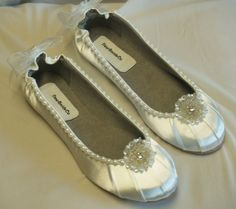 Wedding WHITE Flats Satin Shoes adornment pearls by NewBrideCo, $88.00- for the plane ride the next day...