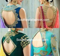 Stylish Saree Blouse Back Neck Designs – South India Fashion - latest saree blouse back neck designs - Blouse Back Neck Designs, Fancy Blouse Designs, Latest Blouse Designs, Sari Design, Blauj Design, Choli Designs, Designer Kurtis, Latest Saree Blouse, Latest Sarees