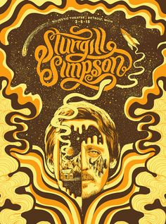 for Sturgill Simpson by Lurk & Destroy. Country Music Bands, Sturgill Simpson, Western Photo, Western Cowboy, Band Posters, Music Posters, Photo Wall Collage, Kinds Of Music, Concert Posters