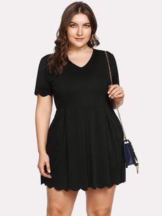17901e2e57 Plus Scallop Trim Box Pleated Solid Dress -SheIn(Sheinside) Dressy Dresses,  Nice