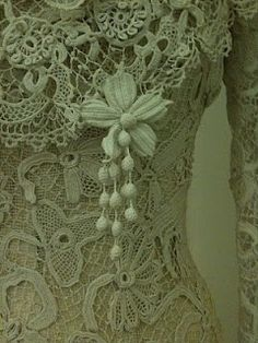 The most beautiful Irish Crochet gowns very often had Crochet pendents added.