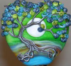WSTGA~MOON BY THE LAKE~TREE FLORAL handmade lampwork glass bead focal SRA