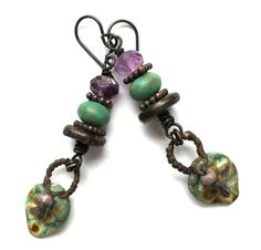 Boho Chic Jewelry Rustic Lampwork Earrings Boho by SheFliesAgain