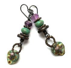 Boho Chic Jewelry Rustic Lampwork Earrings Boho by SheFliesAgain