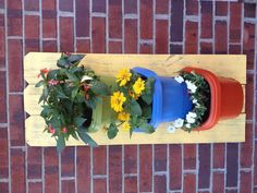 Old fence board pieces and deck planters made a lovely wall planter for the patio! Old Fence Boards, Deck Planters, Old Fences, We Can Do It, Diy Projects, Yard, Patio, Canning, Plants