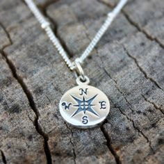 Compass Necklace Sterling Silver Compass Pendant by sevgicharms