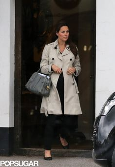 Exclusive: Kate Middleton Skips a Wedding to Shop Antiques: Kate Middleton visited a shop in Hungerford.  : Kate Middleton wore a black outfit and a trench coat.  : Kate Middleton is preparing for the arrival of her baby.