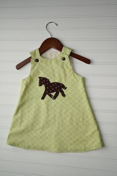 Steeplechase Baby or Toddler Dress Appliqued by SodaCitySewing