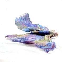 Cobweb Felted Scarf Wool Scarf Spring Scarf Winter by Fibernique, $48.00