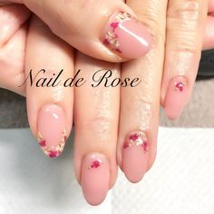 2017 Trending Nail Art   Delicate Pressed Flowers Art With Gold Wire    Perfect for Spring & Summer Look   