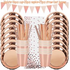 78pcs/set Rose Gold Party Disposable Tableware Set Rose Gold Cup Plates Straws Adult Birthday Party Decor Bridal Shower Supplies Birthday Party Decorations For Adults, Adult Birthday Party, Wedding Decorations, Rose Gold Party Supplies, Disposable Tableware, Gold Cup, Party Tableware, Straws, Bridal Shower