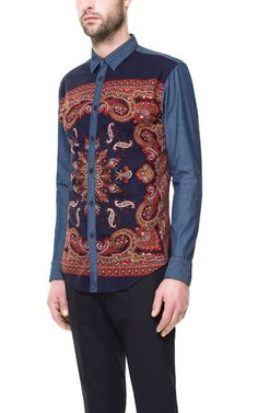 COMBINED DENIM SHIRT WITH PRINTED FRONT from Zara