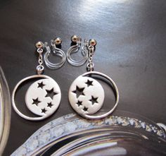 Clipons Moon Star Clip on Earrings D24S Matte by boadNNcraft