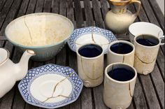 A whole range of repaired ceramic goodies using the New Kintsugi DIY Repair Kit! Repinned by www.moraapproved.com