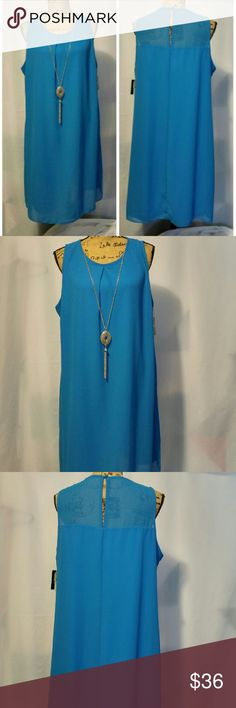 """Beautiful dress. Beautiful dress.size 1X junior plus.could fits Large to extra large womens size..color ocean blue,solid sheer,with attached gold  necklace.Shoulder to bottom 37"""" long.Breast laying flat 24"""" W.New with tag. by&by Dresses Midi"""