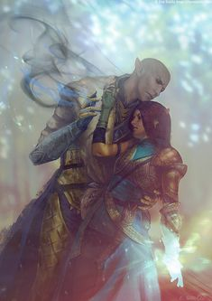 """Solas and Lavellan from """"Dragon Age: Inquisition"""" © BioWare, Electronic Arts. No Cure Dragon Age Inquisition Solas, Dragon Age Solas, Da Inquisition, Dragon Age Origins, Dragon Age Romance, Dragon Age Characters, Dragon Age Series, Dragon Age Games, Electronic Art"""