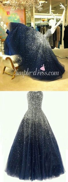Luxurious Ball Gown Strapless Beading Tulle Long Navy Blue Prom/Quinceanera…