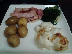 Gammon, broccoli, new potatoes and stikton cauliflower cheese.