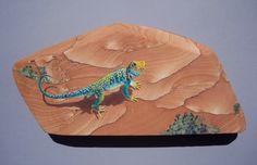 Utah collared lizard hand painted on sandstone by Greta Schneider