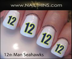 12th Man Seattle Seahawks Nail Decal Nail Designs NFL by NAILTHINS, $3.75