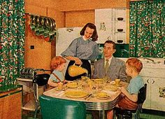 """""""A Living Kitchen"""" 2 (saltycotton) Tags: family 1955 kitchen vintage magazine children father ad mother husband advertisement 1950s refrigerator housewife appliances dinette homeinteriors familycircle"""