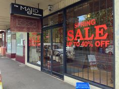 Spring Sale vinyl cut sticker installed by Sign A Rama Box Hill for the Majid Collection who specialise in persian rugs and alike.
